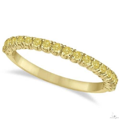 Half-Eternity Pave Thin Yellow Diamond Ring 14k Yellow Gold Anniversary/Fashion