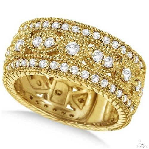 Vintage Byzantine Wide Band Diamond Ring 14k Yellow Gold Anniversary/Fashion