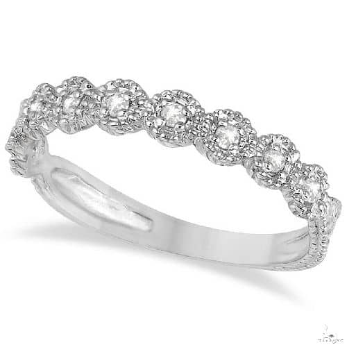 Diamond Stackable Ring Band in 14k White Gold Anniversary/Fashion