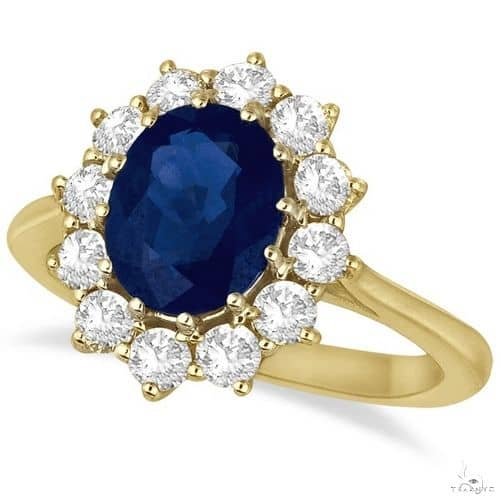 Oval Blue Sapphire and Diamond Accented Ring 14k Yellow Gold Anniversary/Fashion