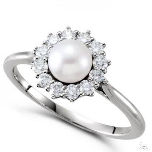 Freshwater Pearl and Diamond Halo Ring 14k White Gold 5.50-6mm Anniversary/Fashion