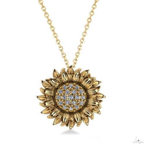 Sunflower Diamond Pendant Necklace 14k Yellow Gold Stone