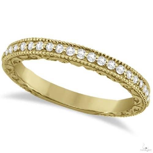 Milgrain and Filigree Diamond Wedding Band 14kt Yellow Gold Anniversary/Fashion