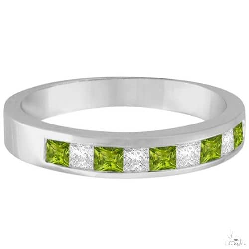 Princess Channel-Set Diamond and Peridot Ring Band 14K White Gold Anniversary/Fashion
