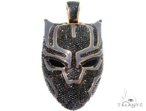 Flower Set Diamond Black Panther Mask Pendant Metal