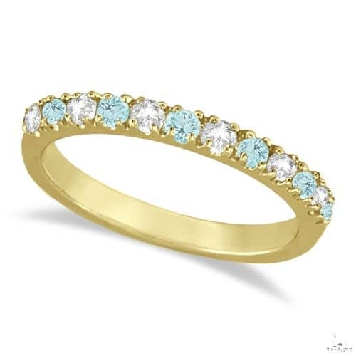 Diamond and Aquamarine Ring Guard Stackable Band 14k Yellow Gold Anniversary/Fashion