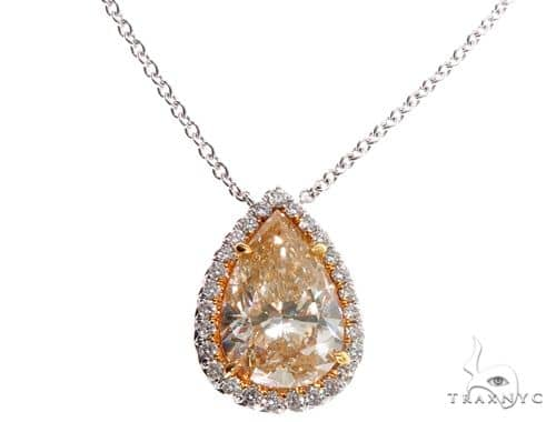 Pear Shape Fancy Yellow Diamond Necklace 64393 Stone