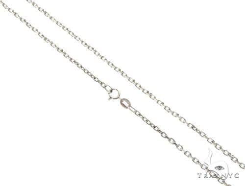 14K White Gold Cable Link Chain 18 Inches 1.4mm 2.7 Grams 64400 Gold
