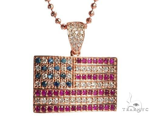 American Flag Moon Cut Chain Set Metal