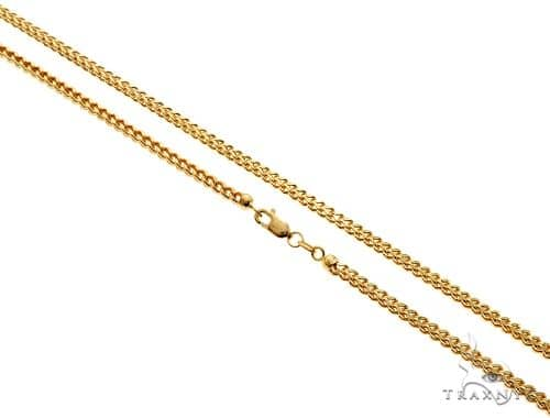 22 Inches 14K Yellow Gold Hollow Franco Link Chain 24 Inches, 26 Inches, 28 Inches, 30 Inches Gold