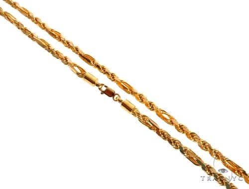 22k Yellow Gold Fancy Link Rope 22 Inches 3.1mm 30.8 Grams 64451 Gold