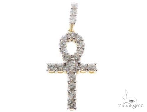 10K Yellow Gold Ankh Cross Pendant 64465 Stone