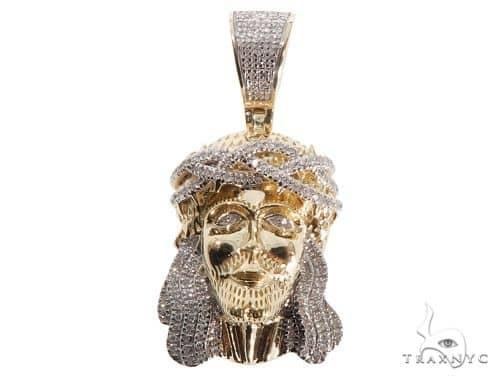 Small Micro Pave Diamond Jesus Pendant 64466 Style