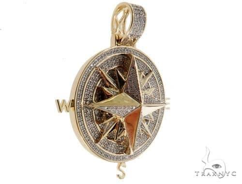 Micro Pave Diamond Compass Pendant 64468 Metal