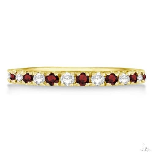 Diamond and Garnet Ring Guard Stackable Band 14K Yellow Gold (0.37ct) Anniversary/Fashion
