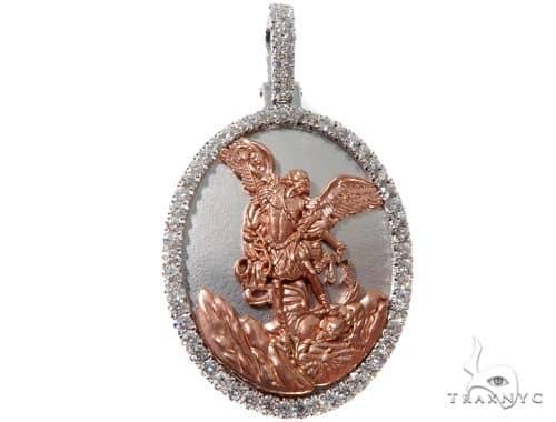 Diamond Saint Michael Pendant 14K Rose and White Gold Oval Medallion Metal