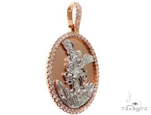 Diamond Saint Michael Pendant 14K Rose and White Gold Medallion Metal