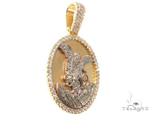 Diamond Saint Michael Pendant 14K Yellow and White Gold Oval Medallion Metal