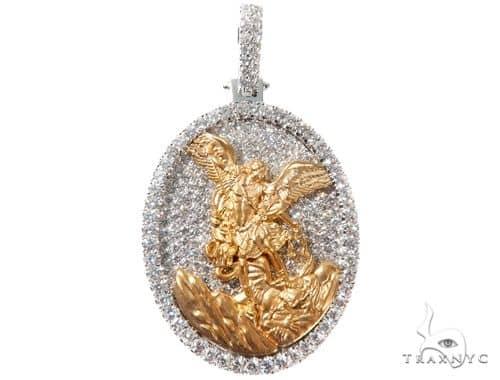 Diamond Saint Michael Pendant 14K White and Yellow Gold Oval Medallion 64473 Metal