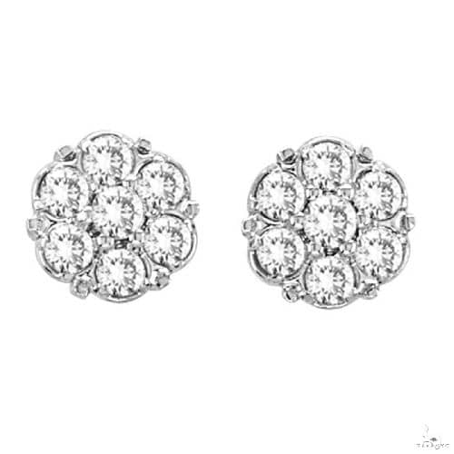 Flower Diamond Cluster Stud Earrings in 14K White Gold Stone