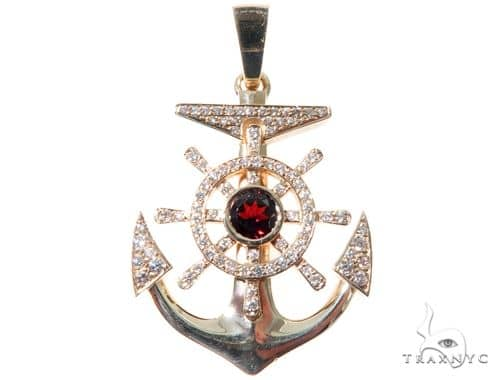 Custom Diamond Anchor Pendant 64475 Metal