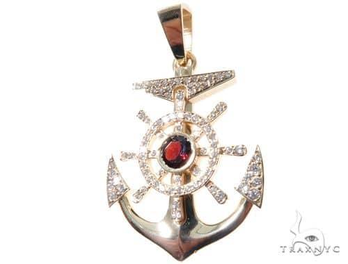 Custom Diamond Anchor Pendant 64475 Metal