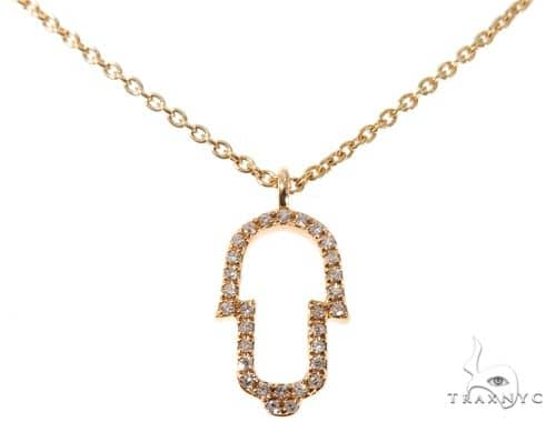 Small Yellow Gold Hamsa Hand Diamond Necklace 64476 Diamond