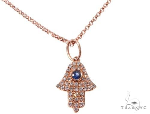 Small Rose Gold Hamsa Hand Diamond Necklace 64479 Diamond