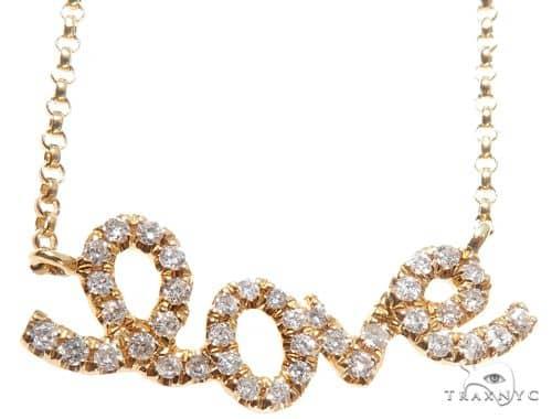 Small Yellow Gold Love Diamond Necklace 64482 Diamond