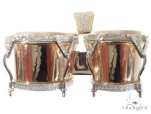 Custom Diamond Bongo Drums Pendant Metal