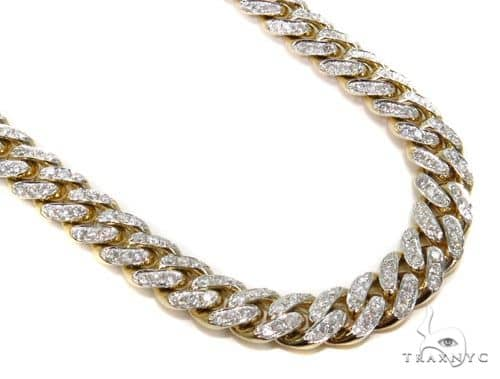 Prong Miami Cuban Diamond Chain 30 Inches 9.5mm 148 Grams Diamond