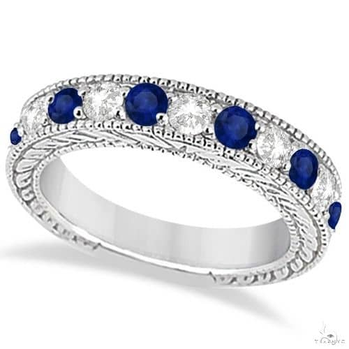 Antique Diamond and Sapphire Wedding Ring Band 14k White Gold Anniversary/Fashion