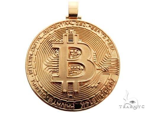 Solid Gold Custom Made Bitcoin Pendant Crypto Cryptocurrency Blockchain Metal