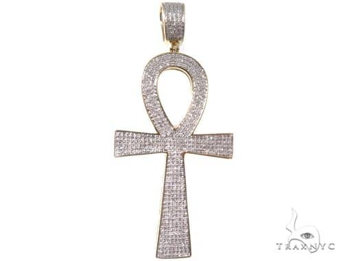 Micro Pave Diamond Ankh Cross Pendant 64518 Metal