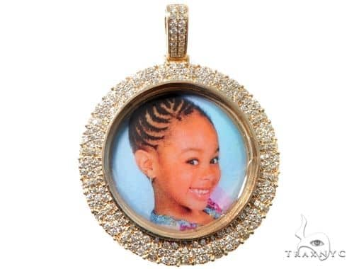Custom Cluster Diamond Photo Pendant 1.75 inch 64527 Metal