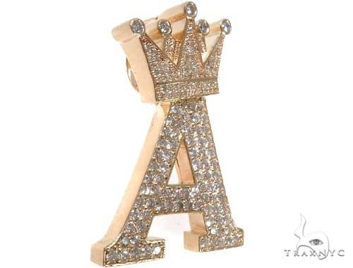 Custom Crowned Initial A Letter Diamond Pendant Metal