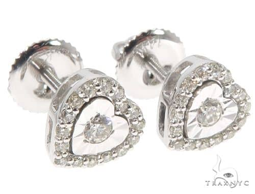 14K White Gold Heart Shape Stud Earrings 10k, 14k, 18k Gold Earrings