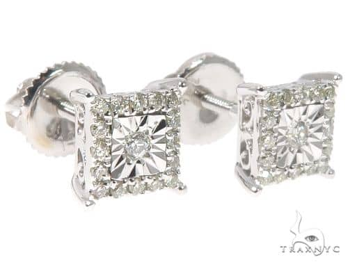 14K White Gold Square Head Diamond Studs 64533 10k, 14k, 18k Gold Earrings