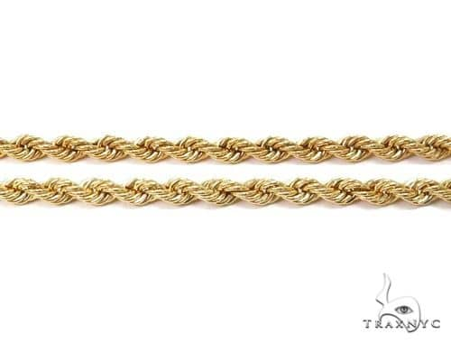 14K Yellow Gold Hollow Rope Chain 18 Inches 2.1mm 2.13 Grams 64539 Gold