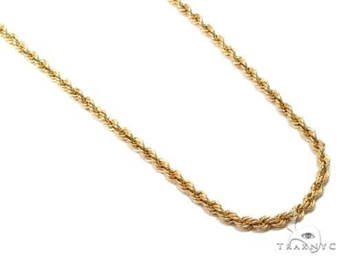 14K Yellow Gold Hollow Rope Chain 24 Inches 2.1mm 3 Grams 64542 Gold
