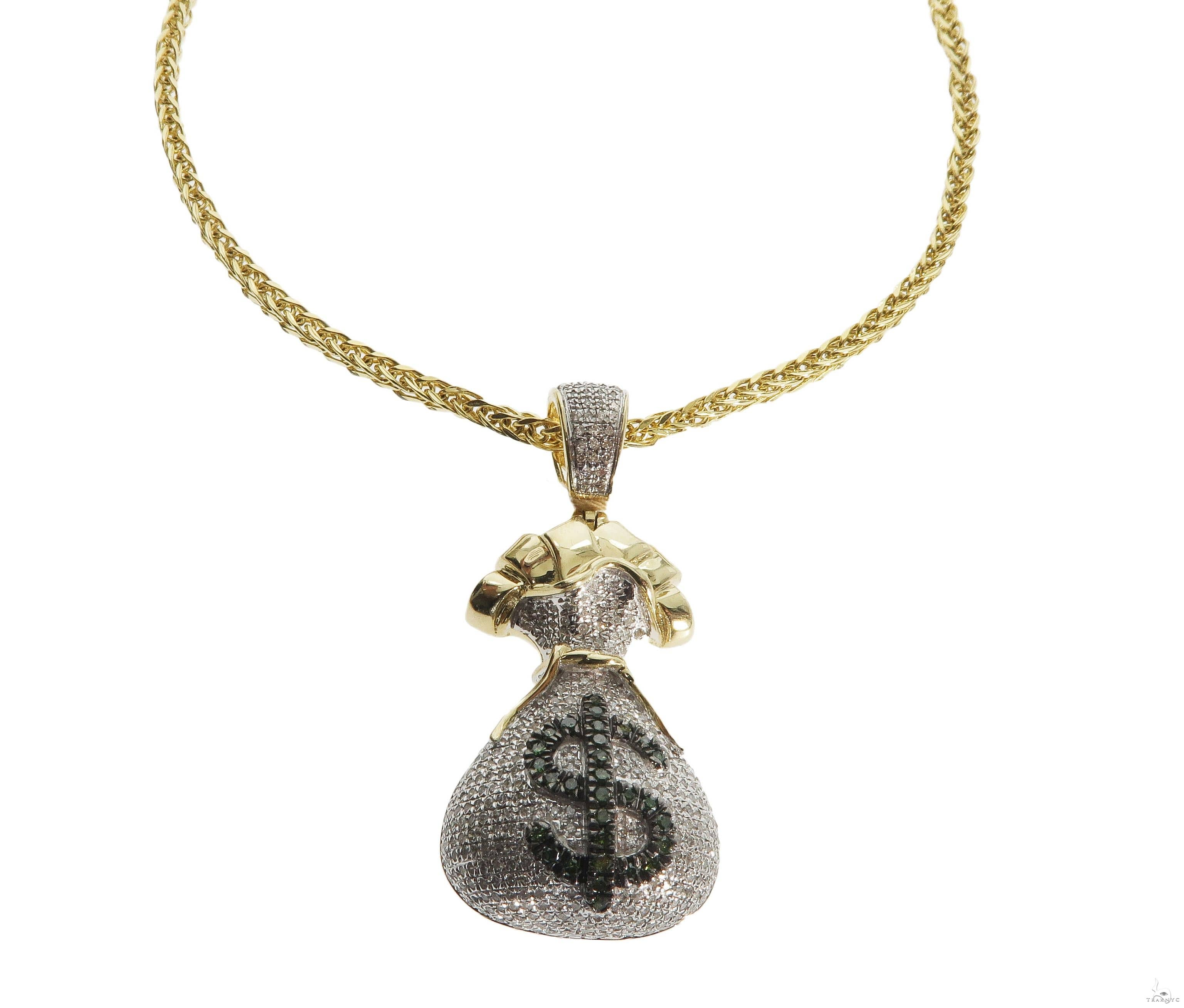 10K Gold Diamond Money Bag Dollar Sign Charm and Chain Set Metal