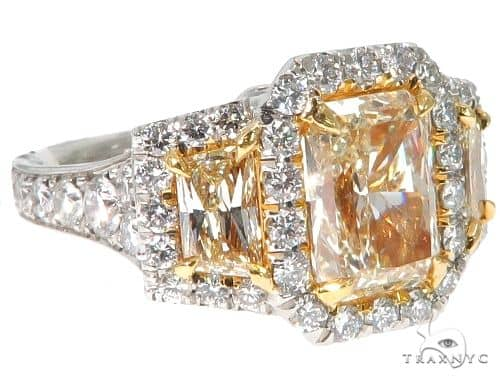 Radiant Cut Fancy Yellow Diamond Engagement Ring Engagement