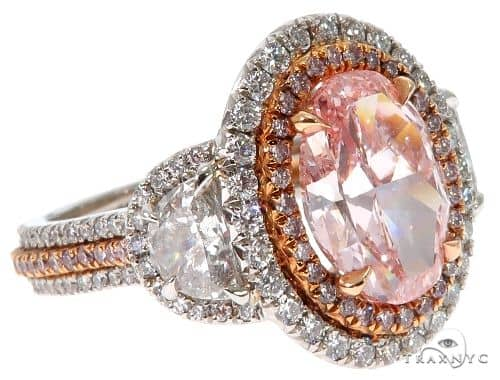 Oval Cut Fancy Pink Diamond Halo Engagement Ring Engagement