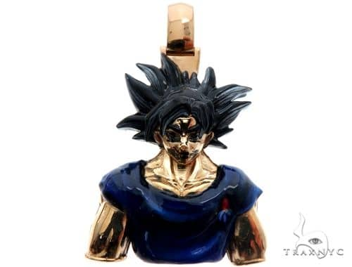 Custom Made Goku Anime Manga Character Solid Gold Pendant Metal