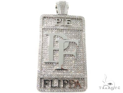 Custom Made Diamond Pie Flippa Pendant Metal