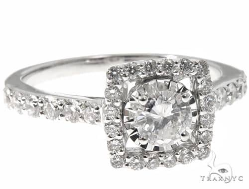 14K White Gold Square Shaped Halo Diamond Cut Ring 64571 Wedding