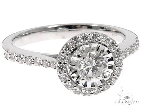 14k White Gold Round Halo Diamond Cut Ring Wedding