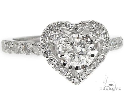 14K White Gold Heart Halo Diamond Ring 64573 Wedding