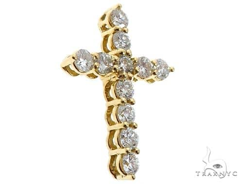 18K Yellow Gold Diamond Cross 64575 Gold