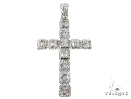 14k White Gold Baguette and Round Diamond Cross Pendant 64577 Diamond